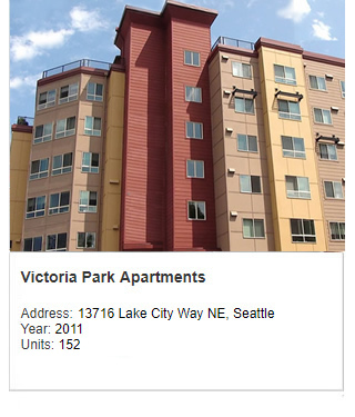 Photo of Victoria Park Apartments. Address: 13716 Lake City Way NE, Seattle. Year: 2011. Units: 152. Value $27 million.