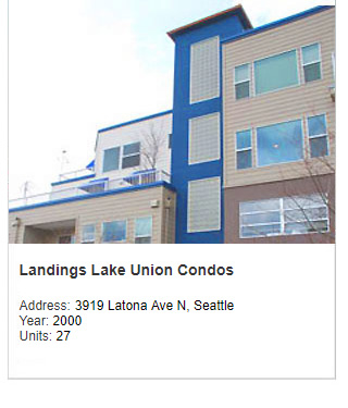 Photo of Landings Lake Union Condos. Address: 3919 Latona Ave N, Seattle. Year: 2000. Units: 27. Value: $10 million.
