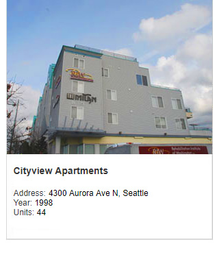 Photo of City View Apartments. Address: 4300 Aurora Ave N, Seattle. Year: 1998. Units: 44. Value: $6 million.