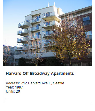 Photo of Harvard Off Broadway Apartments. Address: 212 Harvard Ave E, Seattle. Year: 1997. Units: 20. Value: $4 million.