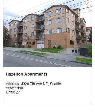 Photo of Hazelton Apartments, a real estate development project by Steve Smith. Address: 4328 7th Ave NE, Seattle. Year: 1990. Units: 27. Value: $4 million.