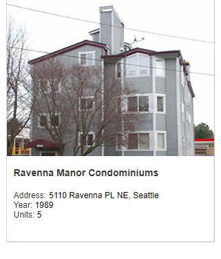 Photo of Ravenna Manor Condominiums. Address: 5110 Ravenna Place NE, Seattle. Year: 1989. Units: 5. Value: $2 million.