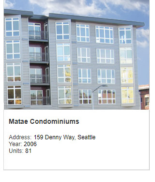 Architect rendering of Matae Condominiums. Address: 159 Denny Way, Seattle. Year: 2006. Units: 81. Value: $26 million.