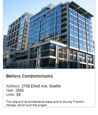 Photo of Bellora Condominiums. Address: 2708 Elliott Ave, Seattle. Year: 2000. Units: 89. Value: $45 million. Note: This site and its entitlements were sold to Murray Franklin Homes, which built the project.