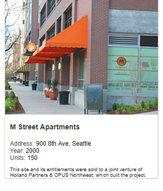 Photo of M Street Apartments. Address: 900 8th Ave, Seattle. Year: 2000, Units: 150. Value: $80 million. Note: This site and its entitlements were sold to Holland Partners & OPUS Northwest, which built the project.