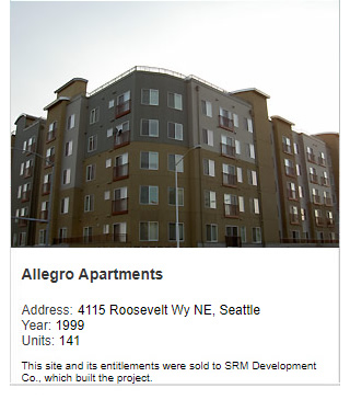 Photo of Allegro Apartments. Address: 4115 Roosevelt Way NE, Seattle. Year: 1999. Units: 141, Value: $20 million. Note: This site and its entitlements were sold to SRM Development Co., which built the project.