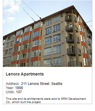 Photo of Lenora Apartments. Address: 211 Lenora Street, Seattle. Year: 1998. Units: 107. Value: $25 million. Note: This site and its entitlements were sold to SRM Development Co., which built the project.