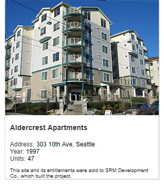 Photo of Aldercrest Apartments. Address: 303 10th Ave, Seattle. Year: 1997. Units: 47, Value: $8 million. Note: This site and its entitlements were sold to SRM Development Co., which built the project.