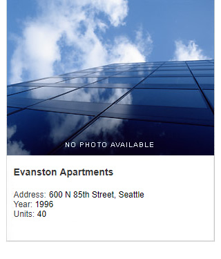No photo available, Evanston Apartments. Address: 600 N 85th Street, Seattle. Year: 1996. Units: 40. Value: $5 million.