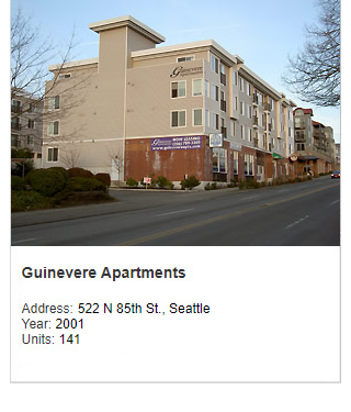 Photo of Guinevere Apartments. Address: 522 N 8th St., Seattle. Year: 2001. Units: 141. Value $25 million.