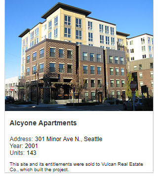 Photo of Alycone Apartments. Address: 301 Minor Ave N., Seattle. Year: 2001. Units: 143. Value: $40 million. Note: This site and its entitlements were sold to Vulcan Real Estate Co., which built the project.