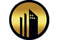 Gold and black skyrise building icon.