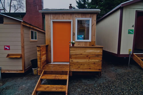 Photo of a tiny house community that provides housing for homeless.