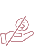 Icon of a hand holding a dollar-sign with a slash through it.