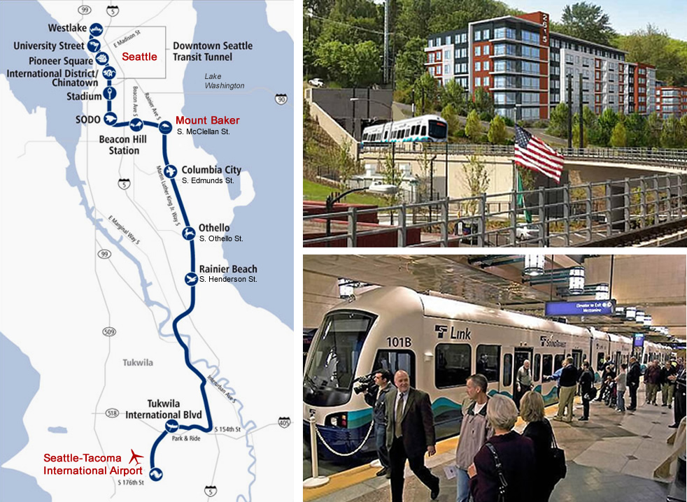 photos of light rail map and light rail station.