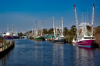 EB-5 Regional Center in Alabama. Photo of fishing boats on the Bayou La Batre, Alabama.