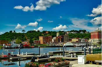 EB-5 Regional Center in Iowa. Photo of town on the water of Dubuque, Iowa.