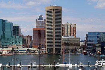 EB-5 Regional Center in Maryland. Photo of downtown Baltimore, Maryland.