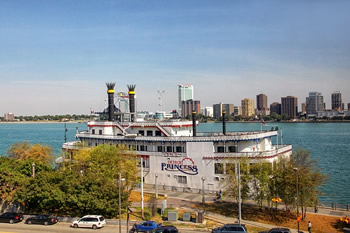 EB-5 Regional Center in Michigan. Photo of a River Boat on Detroit River, Michigan.