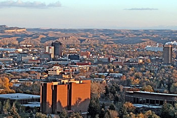 EB-5 Regional Center in Montana. Photo of downtown Billings, Montana with terrain in the background.