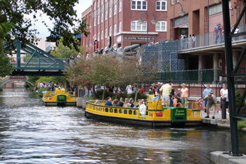 EB-5 Regional Center in Oklahoma. Photo of water taxis in Oklahoma City's downtown Bricktown neighborhood.