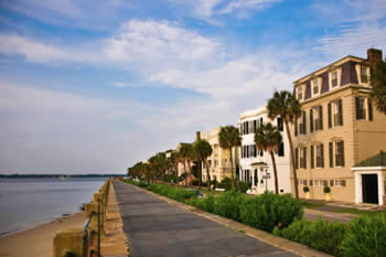 EB-5 Regional Center in South Carolina. Photo of a long stretch of townhomes along the water, Charleston, South Carolina.